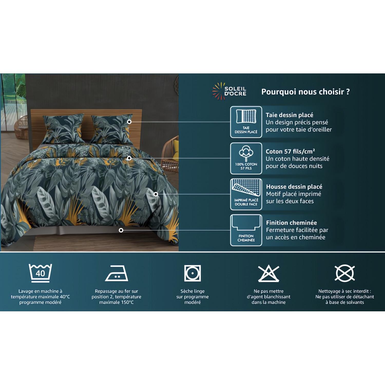 drap housse 160x200 cm en coton 57 fils soleil d 39 ocre anthracite linge et maison. Black Bedroom Furniture Sets. Home Design Ideas