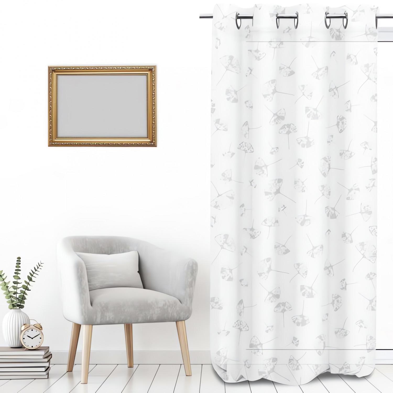 rideau brod en coton oslo gris oeillets par soleil d 39 ocre lin. Black Bedroom Furniture Sets. Home Design Ideas