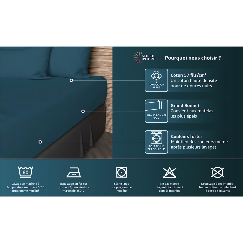 parure de drap 240x290 en coton 57 fils nature taupe par. Black Bedroom Furniture Sets. Home Design Ideas