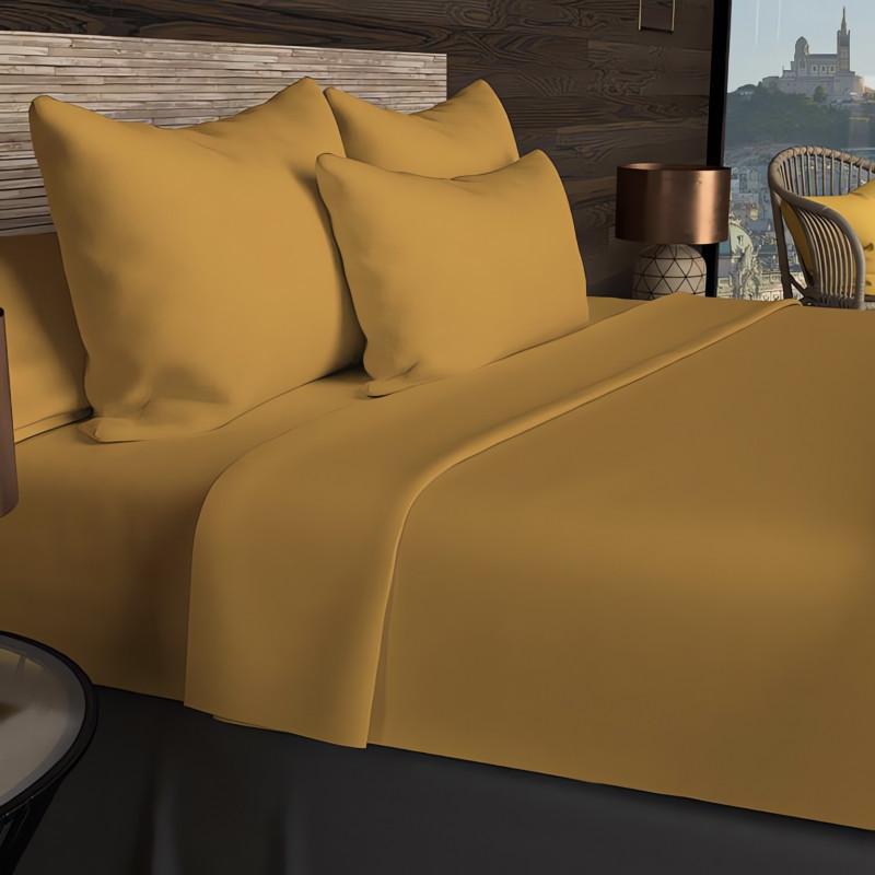 boutis en coton 230x250 cm byzance curry avec 2 taies d 39 oreiller. Black Bedroom Furniture Sets. Home Design Ideas