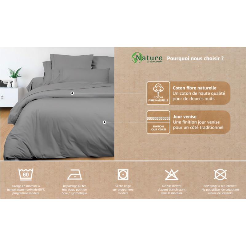 parure housse de couette dessin plac 260x240 cm william 100 coton 57 fils cm2 linge et maison. Black Bedroom Furniture Sets. Home Design Ideas